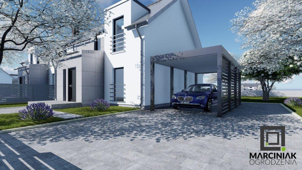 wiata na samochód carport zadaszenie palisadowe pod nowoczesny dom