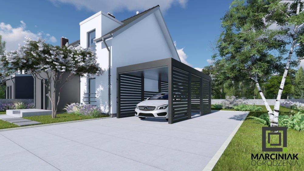 wiata na samochód carport zadaszenie pod jeden samochód w niskiej cenie do nowoczesnego domu