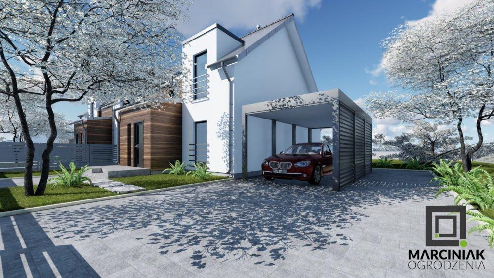 wiata na samochód carport zadaszenie zaluzja antracyt pod nowoczesny dom tanio pojedyncza na jeden samochód