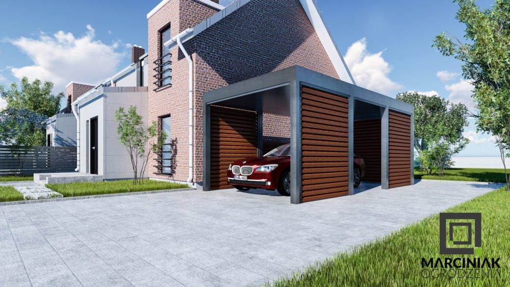 wiata na samochód carport zadaszenie zaluzja drewno