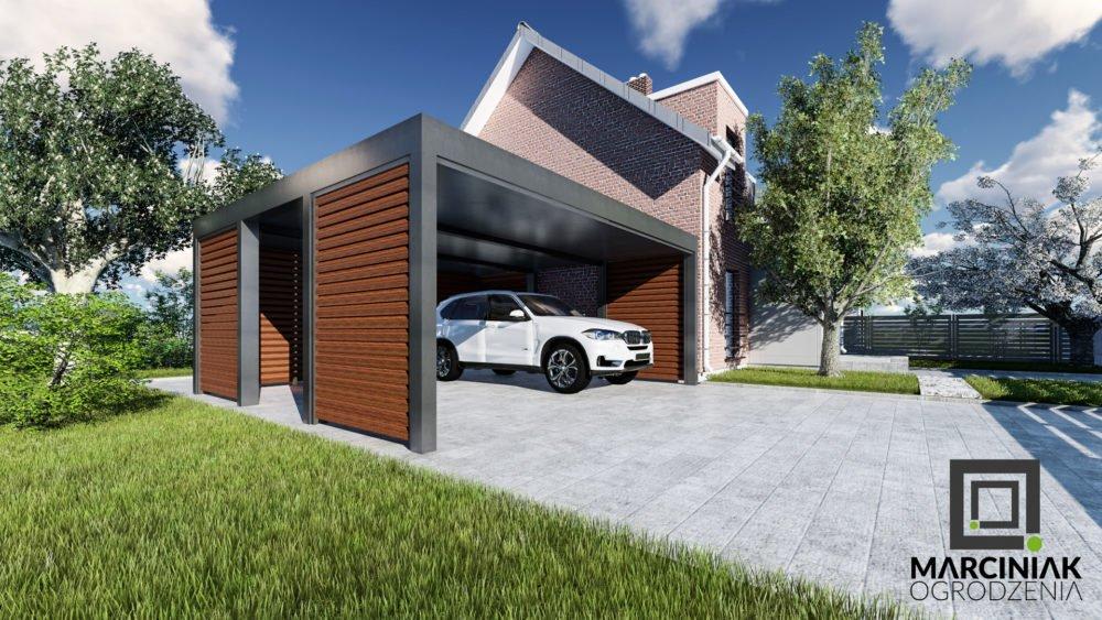 wiata na samochód podwójna carport zadaszenie drewno zaluzja