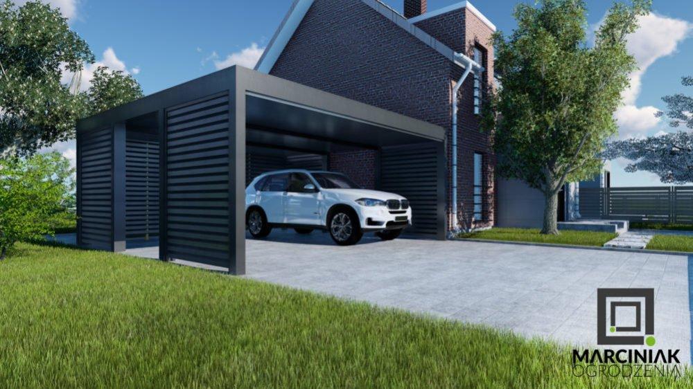wiata na samochód carport zadaszenie antracyt zaluzja pod dwa stanowiska przy nowoczesnym domu