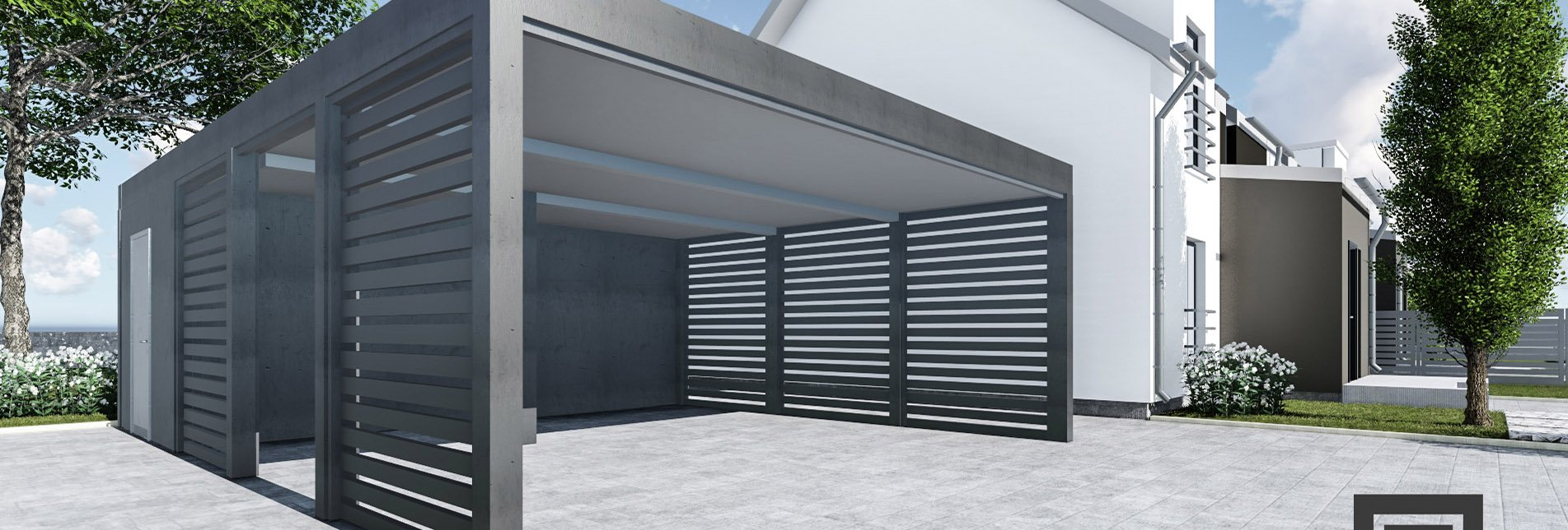 Duża wiata garażowa palisada z pomieszczeniem gospodarczym