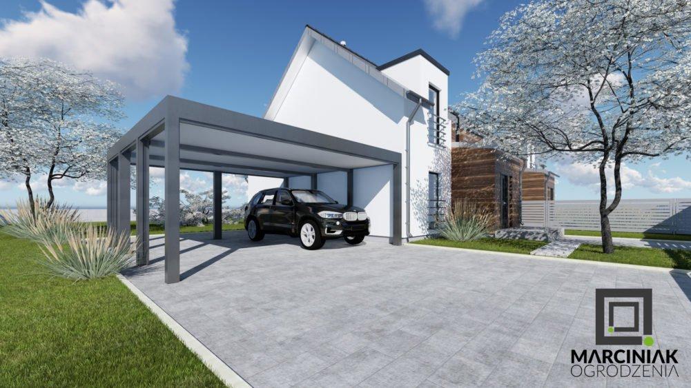 wiata garażowa carport podwójna bez ścianek tanio