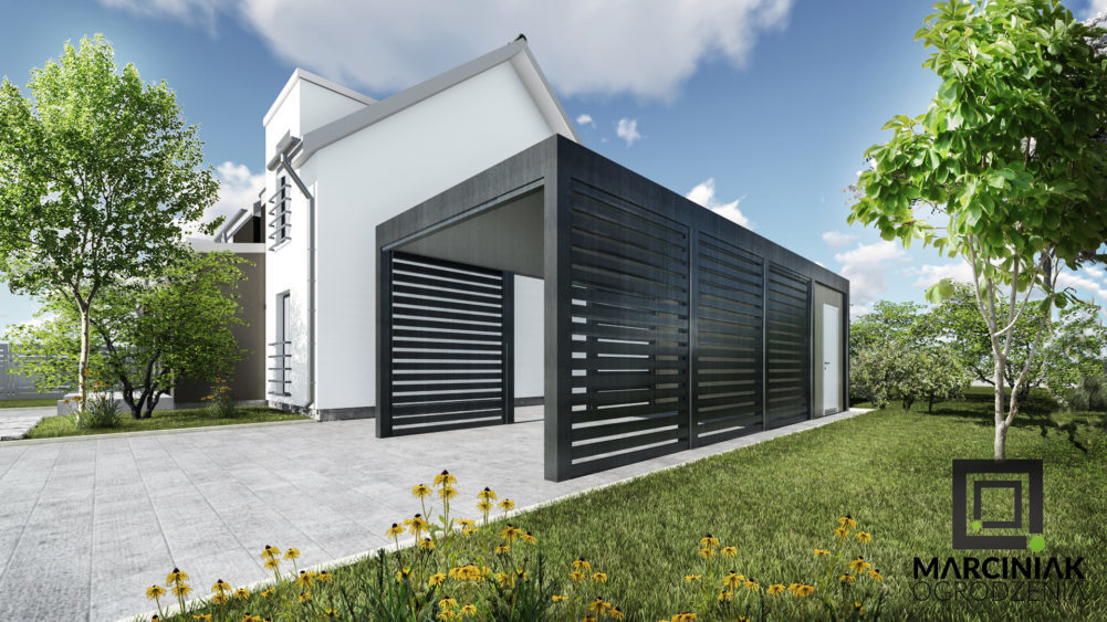 Wiata garażowa stalowawa jednostanowiskowa z pomieszczeniem gospodarczym_ _najlepsza wiata garazowa carport