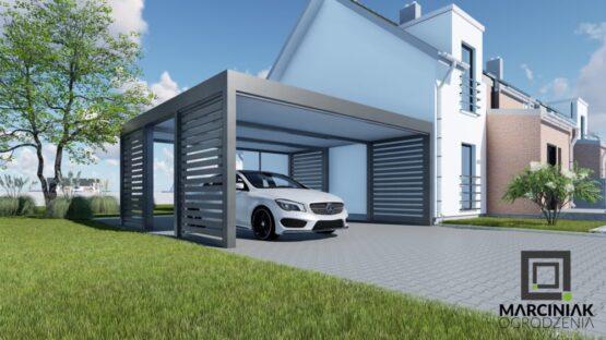 carport podwójny styl horyzontalny 4 ściany na dwa auta w kolorze antracyt stylu palisada