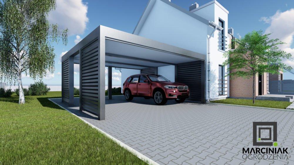 duża wiata garażowa_ dwa stanowiska_dwusanowiskowa_stallowa_nowoczesna_carport dla dwóhc samochodów_tanio_najlepsze projekty_marciniak ogrodzenia