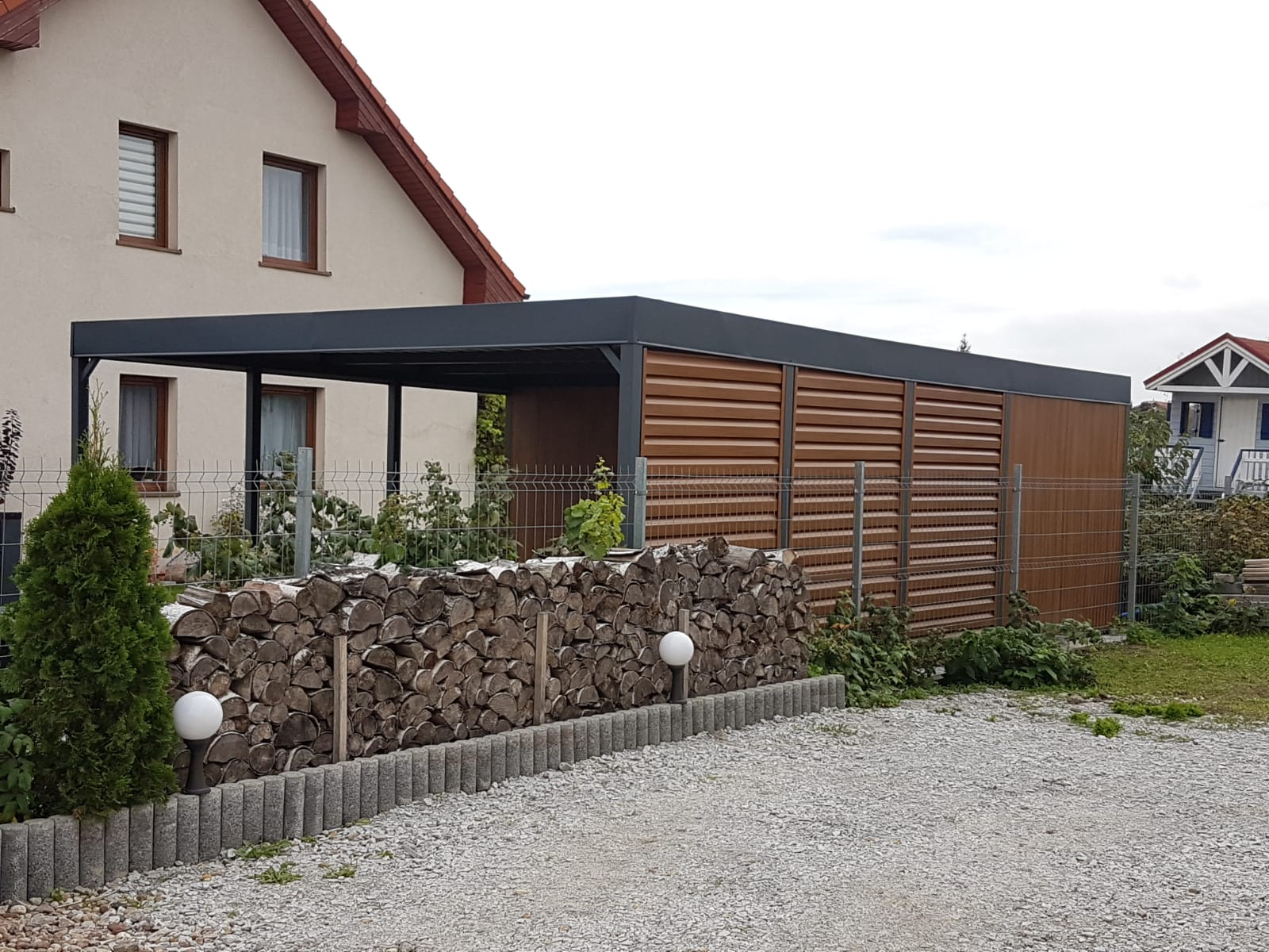 realizacja 3 duza Wiata garażowa natural w stylu drewna dwu stanowiskowa tanio polska