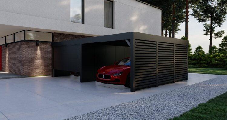 Garaż z wiatą - dwa stanowiska
